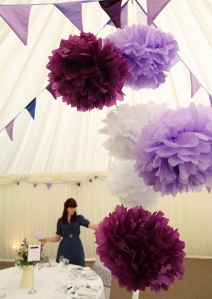 Emma and Andy's purple pompoms www.ohsoperfect.co.uk
